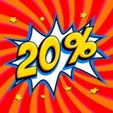 红色销售网横幅 在漫画流行音乐艺术样式轰隆形状的销售百分之二十20在红色扭转的背景 大销售额 免版税库存图片