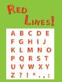 红色镶边字体 免版税库存照片