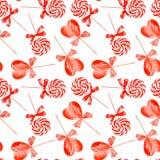 红色镶边lollypops水彩无缝的传染媒介印刷品 库存照片