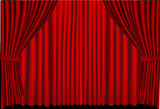 红色闭合的窗帘 库存图片