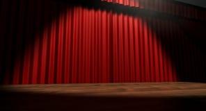 红色阶段窗帘 库存照片