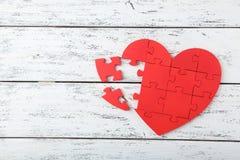 红色难题心脏 库存照片