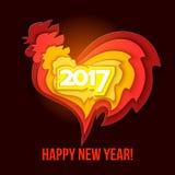 红色雄鸡的新年快乐2017年 库存例证