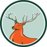 红色雄鹿鹿边圈子动画片 库存照片