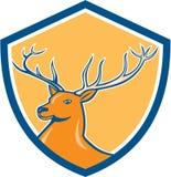 红色雄鹿鹿头盾动画片 免版税库存图片