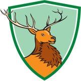 红色雄鹿鹿头盾动画片 免版税图库摄影