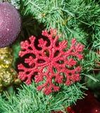 红色雪剥落圣诞节装饰品树,细节,关闭 图库摄影