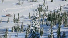 红色雪groomer在森林-与一现代雪groomer的图片里在一个多雪的森林附近 股票录像