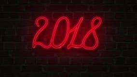 红色霓虹点燃对砖墙的牌2018新年好 库存例证