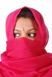 红色面纱妇女 免版税库存照片