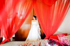 红色面纱的新娘 库存图片