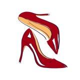 红色鞋子剪影例证 免版税图库摄影