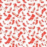 红色鞋子的无缝的样式在非常高跟鞋的 免版税图库摄影
