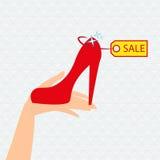 红色鞋子介绍待售 免版税库存图片