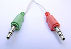 红色音频绿色的插件 库存照片