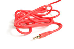 红色音频缆绳3,5mm插头 免版税图库摄影
