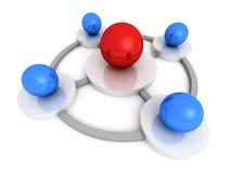 红色领导球形在中心连接蓝色一个 库存例证