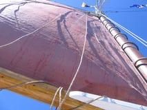 红色风帆在缅因 免版税图库摄影