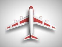 红色飞机顶视图 库存照片