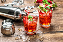 红色饮料冰开胃酒mojito caipirinha汁液鸡尾酒 免版税库存图片