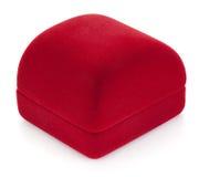 红色首饰盒。 免版税库存照片