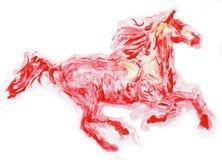 红色马赛跑,手工制造绘画 免版税库存照片