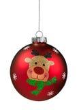 红色驯鹿闪烁圣诞节球 免版税库存图片