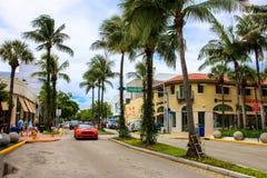 红色驾车沿棕榈被装饰的路 库存图片