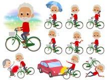 红色高脖子老人black_city自行车 免版税库存图片