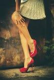 红色高跟鞋鞋子 免版税图库摄影