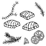红色鱼三文鱼、柠檬和草本牛排的图象海鲜菜单的 墨水在白色隔绝的传染媒介例证 库存照片