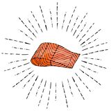 红色鱼三文鱼图象牛排在太阳光芒的 在白色背景乱画动画片葡萄酒隔绝的传染媒介例证 免版税库存照片