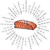 红色鱼三文鱼图象牛排在太阳光芒的 在白色背景乱画动画片葡萄酒隔绝的传染媒介例证 免版税库存图片