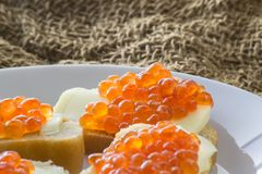 红色鱼子酱用黄油和被烘烤的面包 特写镜头 侧视图 库存图片