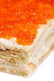 红色鱼子酱饼 免版税图库摄影