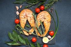 红色鱼鲑鱼排顶视图  免版税库存照片