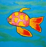 红色鱼,绘 免版税库存照片