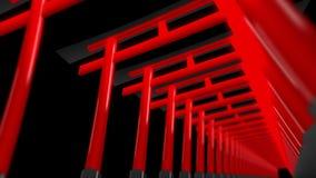 红色鸟居门在日本 在寺庙的鸟居门 寺庙隧道 r 向量例证