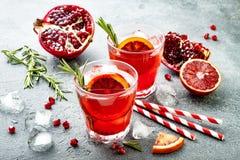 红色鸡尾酒用血橙和石榴 刷新的夏天饮料 圣诞晚会的假日开胃酒 图库摄影