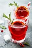 红色鸡尾酒用血橙和石榴 刷新的夏天饮料 圣诞晚会的假日开胃酒 库存照片