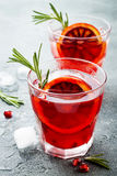 红色鸡尾酒用血橙和石榴 刷新的夏天饮料 圣诞晚会的假日开胃酒 库存图片