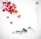 红色鸡爪枫叶子和远的山在雾在白色背景 传统东方墨水绘画sumi-e, u罪孽 库存图片