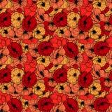 红色鸦片无缝的模式 在线性板刻样式的夏天花 盖子设计的传染媒介花卉重复的样式 免版税库存图片