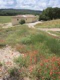 红色鸦片花和老普罗旺斯房子在农村南法国环境美化 库存照片
