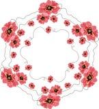 红色鸦片花圈  向量例证