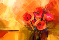 红色鸦片花抽象油画静物画  库存照片