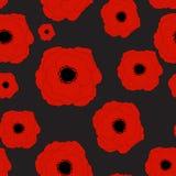 红色鸦片花无缝的样式背景 库存图片