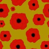 红色鸦片花无缝的样式背景 免版税库存图片