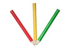 红色黄绿色铅笔 免版税图库摄影