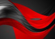 红色黑发光的光滑的波浪抽象背景 皇族释放例证